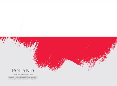 Flag of Poland, brush stroke background Illustration