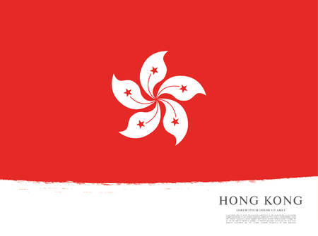Flag of Hong Kong, brush stroke background