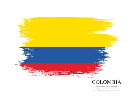 Drapeau de la Colombie, coup de pinceau fond Vecteurs