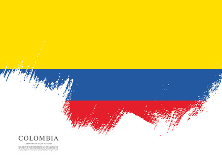 republic of colombia: Flag of Colombia, brush stroke background