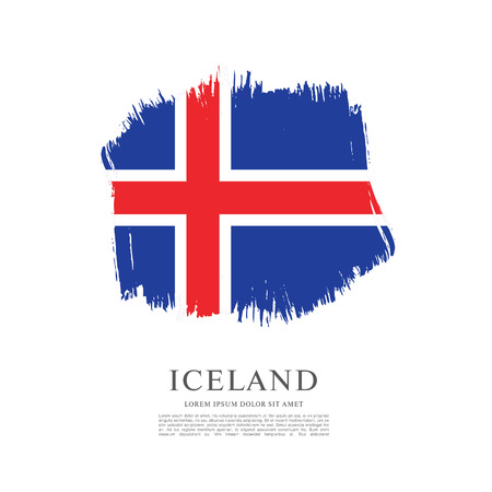 politicians: Flag of Iceland, brush stroke background Illustration
