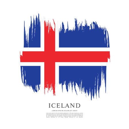Flag of Iceland, brush stroke background Иллюстрация