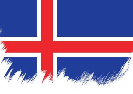 Flag of Iceland, brush stroke background Illustration