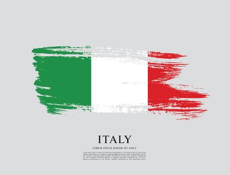 Vlag van Italië, penseelstreek achtergrond Vector Illustratie