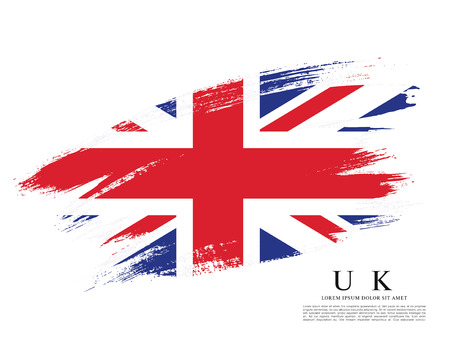 Flag of the United Kingdom of Great Britain and Northern Ireland, brush stroke background Illustration