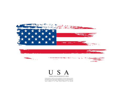 grunge banner: Flag of the United States of America, brush stroke background