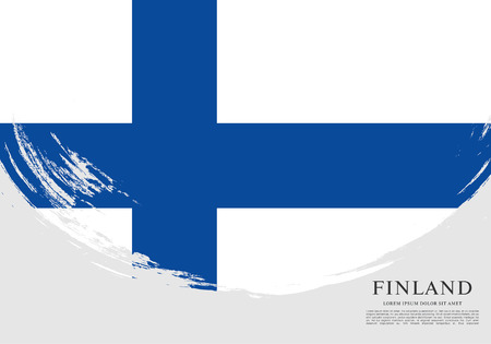 Flag of Finland, brush stroke background Illustration