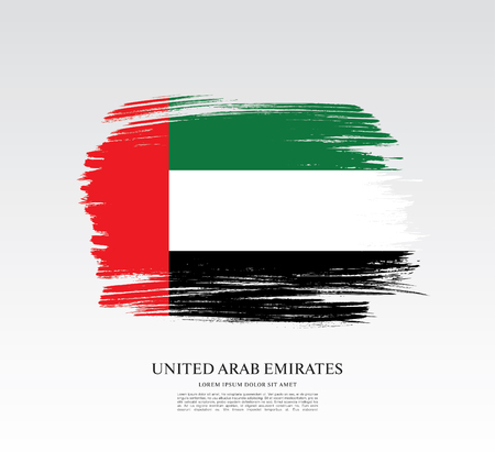 Flag of the United Arab Emirates. UAE flag. Brush stroke background