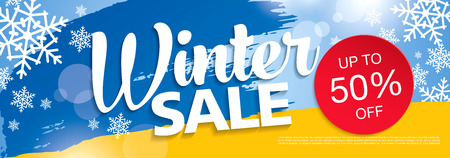 Winter sale banner, vector illustration