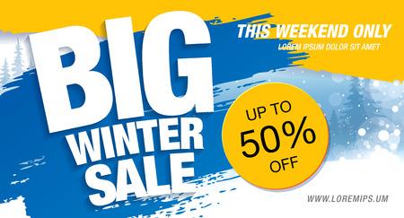 総: Winter sale banner, vector illustration