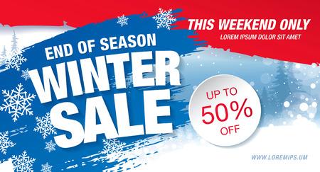 half price: Winter sale banner, vector illustration