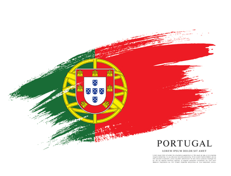 포르투갈의 국기, 브러쉬 획 배경 일러스트