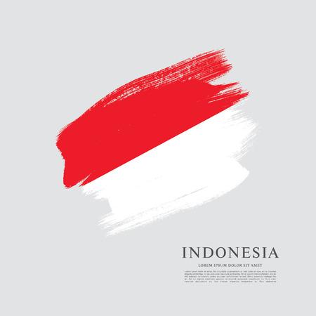 Flag of Indonesia, brush stroke background Illustration