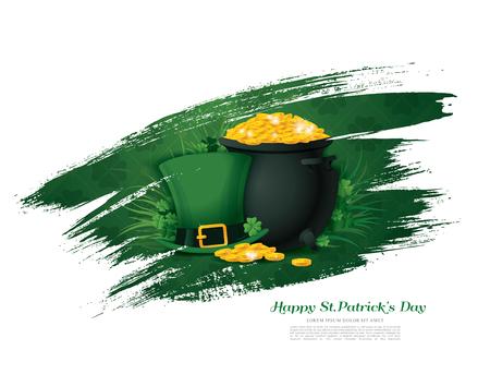 fourleaf: Happy Saint Patricks day. Vector illustration