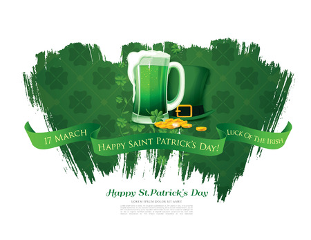 four fourleaf: Happy Saint Patricks day. Vector illustration