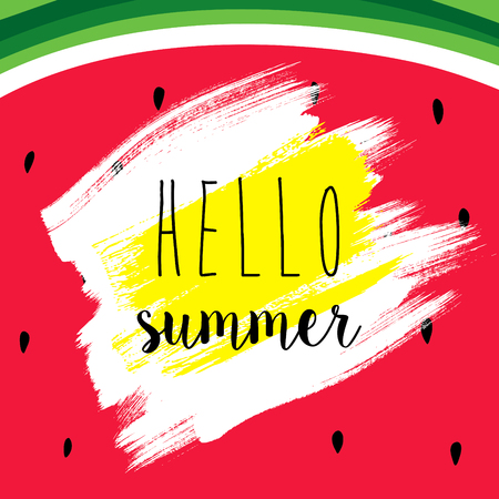 HI: Summer banner template design. Hello Summer inscription