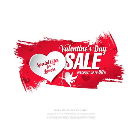 valentines day sale banner, brush stroke background Illustration