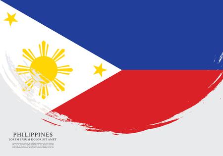 Flag of Philippines, brush stroke background