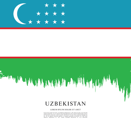 Flag of Uzbekistan, brush stroke background