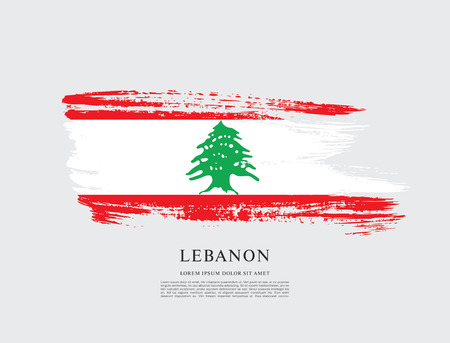 Vlag van Libanon, penseelstreek achtergrond
