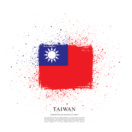 Flag of Taiwan, brush stroke background Çizim