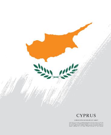 Flag of Cyprus, brush stroke background Illustration