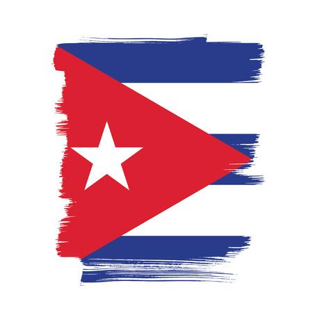 Bandera de Cuba, movimiento del cepillo de fondo Vectores