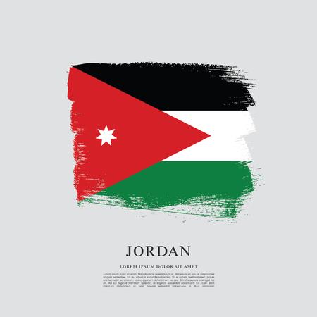 flag: Flag of Jordan, brush stroke pattern. Illustration