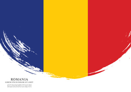 Flag of Romania, brush stroke layout. Illustration