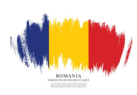 Drapeau de Roumanie, traçage par pinceau.