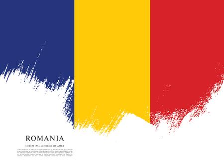 ルーマニア、ブラシ ストロークの背景の旗  イラスト・ベクター素材