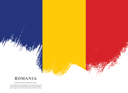 Flag of Romania, brush stroke background