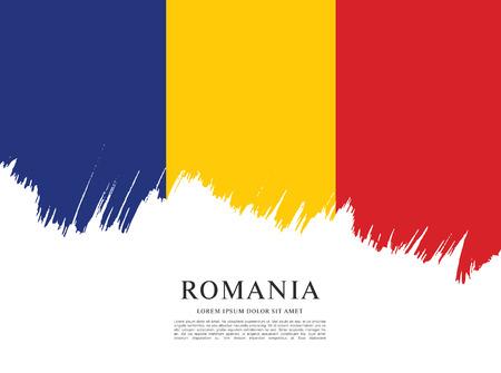 Flag of Romania, brush stroke background