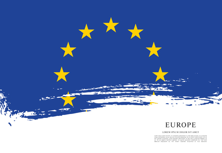 Flag of Europe, brush stroke background