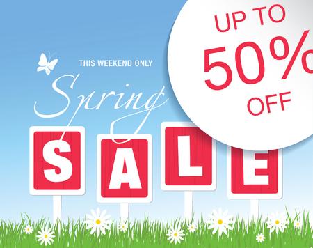 grass sky: Spring sale poster, vector illustration