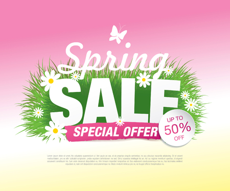 Spring sale poster, vector illustration