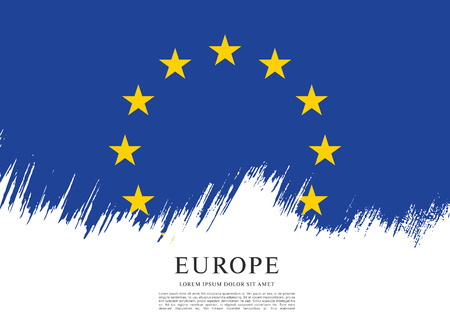 Flag of Europe, brush stroke background Illustration