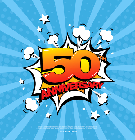50th anniversary emblem. Fifty years anniversary celebration symbol Illustration