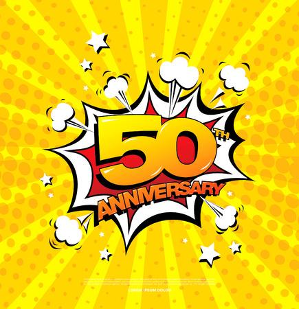 50. Jahrestag Emblem. Fünfzig Jahre Jubiläumsfeier Symbol Vektorgrafik