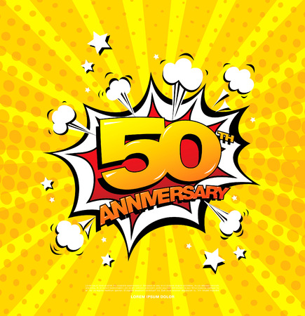 50th anniversary emblem. Fifty years anniversary celebration symbol Illustration