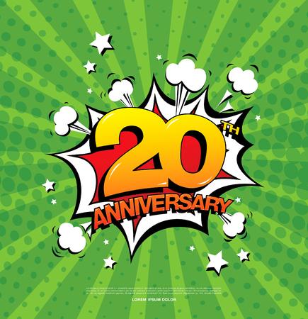20th: 20th anniversary emblem. Twenty years anniversary celebration symbol