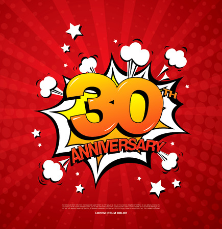 30th anniversary emblem. Thirty years anniversary celebration symbol Illustration