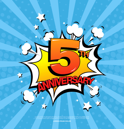 5e verjaardag embleem. Vijf jaar jubileum viering symbool Stock Illustratie