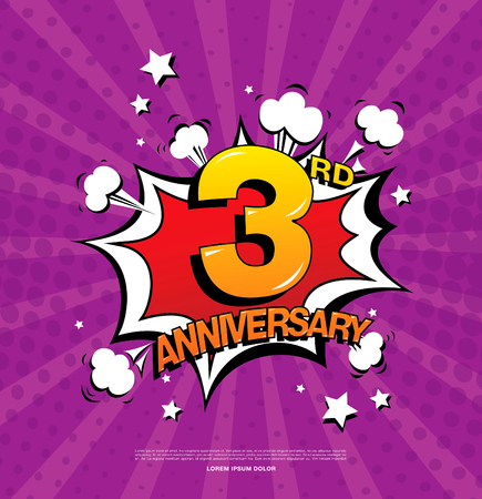 third birthday: 3rd anniversary emblem. Three years anniversary celebration symbol Illustration