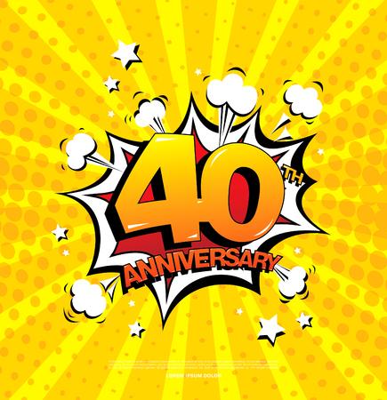40ste verjaardag embleem. Vijftig jaar jubileum viering symbool Vector Illustratie