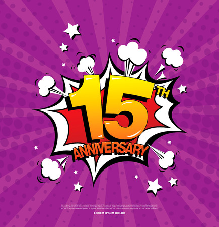 fifteen: 15th anniversary emblem. Fifteen years anniversary celebration symbol