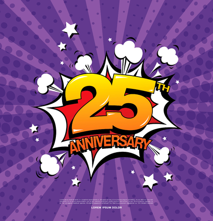 25th: 25th anniversary emblem. Twenty five years anniversary celebration symbol