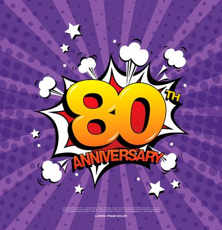 80th: 80th anniversary emblem. Eighty years anniversary celebration symbol Illustration