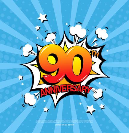90th: 90th anniversary emblem. Ninety years anniversary celebration symbol Illustration