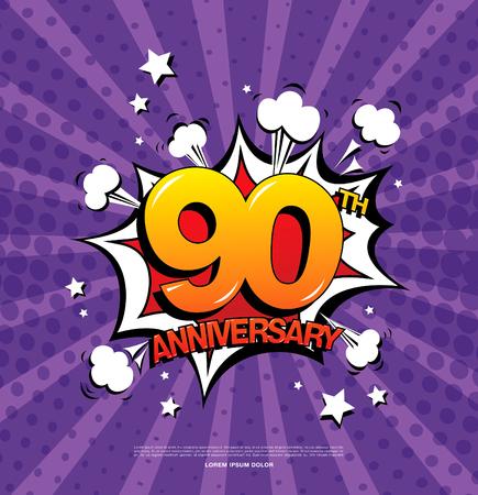90th anniversary emblem. Ninety years anniversary celebration symbol Illustration